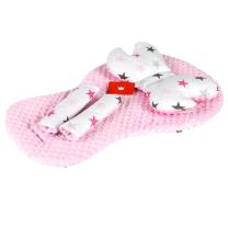 komplet za voziček BELA sive in roza zvezdice