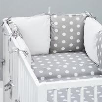 Bijela 3-djelna posteljina SIVA TOČKICE 120x90 cm, Balbina