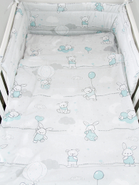 Siva 3-delna posteljnina ZAJČKI in MEDVEDKI 120x90 cm