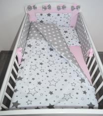 Dvostrana 3-djelna posteljina BIJELA sive male i velike zvijezde SIVA bijele točkice- ROZA 120x90 cm Largo