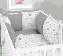 SIVA - BELA dvostranska 3-delna posteljnina 120x90 cm SIVE VELIKE IN MALE ZVEZDICE