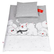 Siva 2-djelna posteljina za kolijevku SJEVERNI MEDVJEDI 60x75 cm