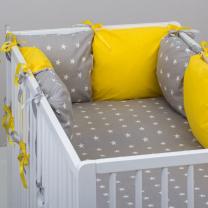 Žarko žuta 3-djelna posteljina SIVA ZVJEZDICE 120x90 cm, Balbina