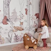Stenske tapete za otroško sobo FOREST MURAL GIRLS (400x280cm), Malumi