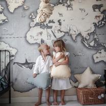 Stenske tapete za otroško sobo ZEMLJEVID SVETA (300x280cm), Malumi