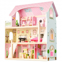 Svetlo roza hiša za punčke (Ecotoys) 71 cm