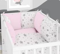 RUŽIČASTO- BIJELA  dvostrana 3-djelna posteljina 120x90 cm SIVE MALE I VELIKE ZVJEZDICE, s navlako od jastuka, Balbina