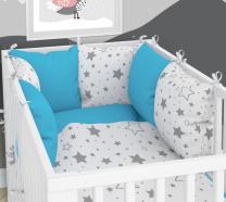 TIRKIZNA - BIJELA dvostrana 3-djelna posteljina 120x90 cm SIVE ZVIJEZDE, s navlako od jastuka, Balbina
