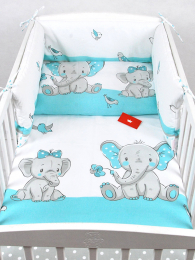 Bela 3-delna posteljnina TURKIZEN SLONČEK Z ROŽICO 120x90 cm