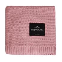 Umazano roza bambusova pletena odeja LULLALOVE 120x100 cm