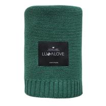 Temno zelena bambusova pletena odeja LULLALOVE 120x100 cm